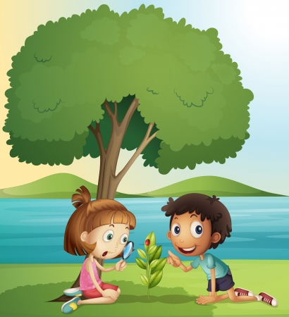 illustration of a boy and a girl in a beautiful nature Stock Vector - 15864466
