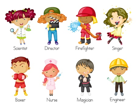 jobs cartoon: illustration of a kids on a white background Illustration