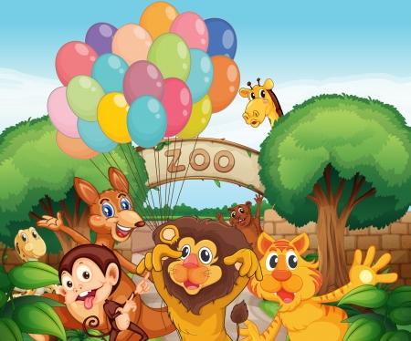 nutria caricatura: ilustraci�n de un zool�gico y los animales en una hermosa naturaleza