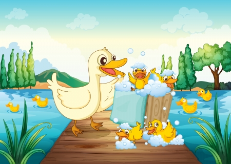 illustration of a river, a bench and ducks in a beautiful nature Vector