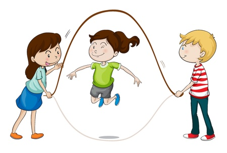 woman jump: illustration of a kids playing on a white background Illustration