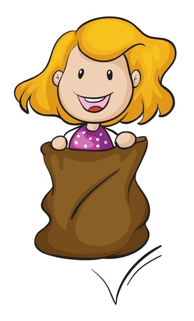 burlap bag: illustration of a girl and a burlap on a white background