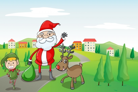 illustration of a santa claus and a reindeer in a beautiful nature Vector