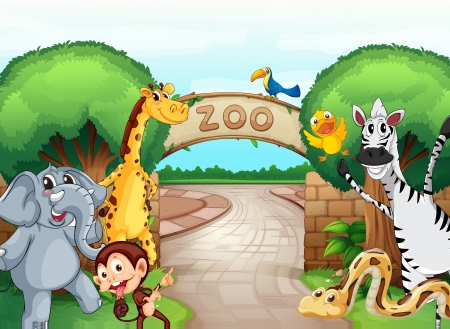 entrance gate: illustration of a zoo and the animals in a beautiful nature Illustration