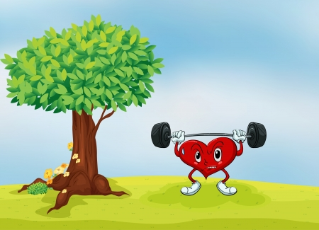 illustration of a heart and a tree in a beautiful nature Vector