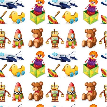 jack plane: illustration of toys on a white background Illustration