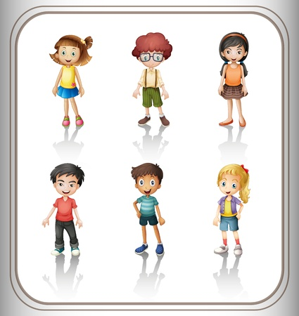 group of kids: illustration of a kids on a white background Illustration