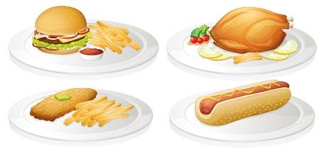 roast dinner: illustration of a food on a white background Illustration