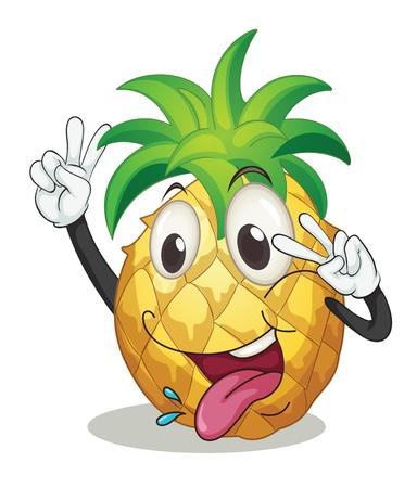 illustratie van een ananas op een witte achtergrond Stock Illustratie