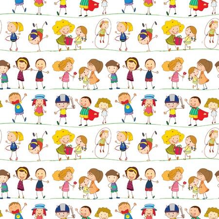 白い背景の上の子供たちのイラスト  イラスト・ベクター素材