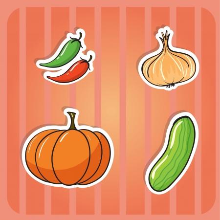cebolla roja: ilustración de algunas verduras sobre un fondo rojo