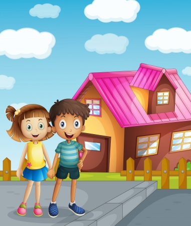 home clipart: illustration of a kids and a house in a beautiful nature