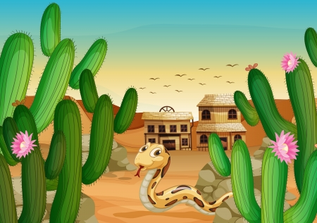 high desert: illustration of a snake and a house in a beautiful nature