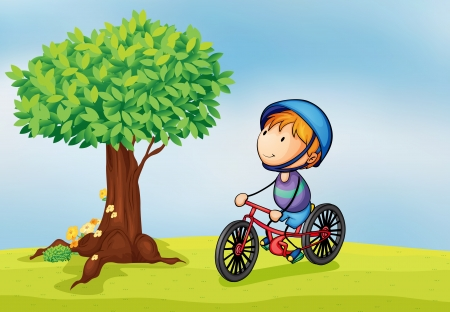 cycling helmet: illustration of a boy and a tree in a beautiful nature Illustration