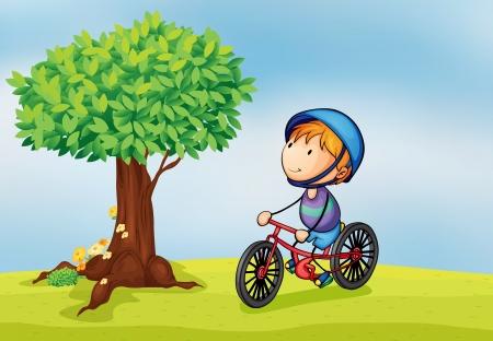 niños en bicicleta: ilustración de un niño y un árbol en una hermosa naturaleza Vectores