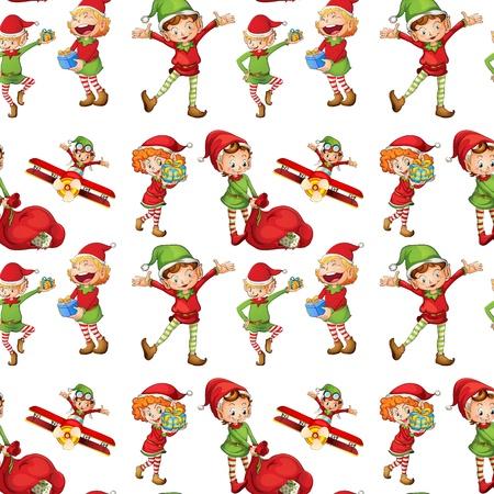 elfos navideÑos: ilustración de una chicas en una hermosa naturaleza Vectores