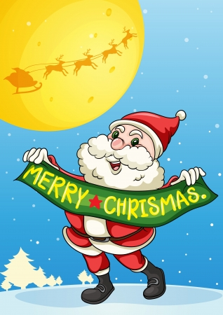 llustration of a santa claus in a beautiful nature Vector