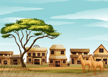 illustration of horses and a house in a beautiful nature Vector
