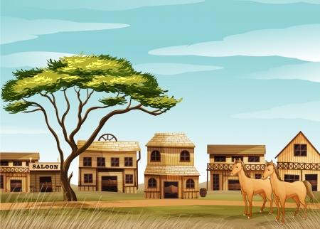 saloon: ilustraci�n de caballos y una casa en una hermosa naturaleza