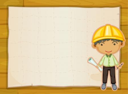 ingegneri: Illustrazione di un ragazzo ingegnere su uno sfondo giallo Vettoriali