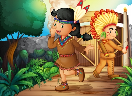 native american girl: illustration of a kids and a gate in a beautiful nature