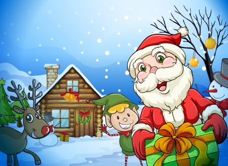 father christmas: llustration of a house, a santa claus and a reindeer in a beautiful nature