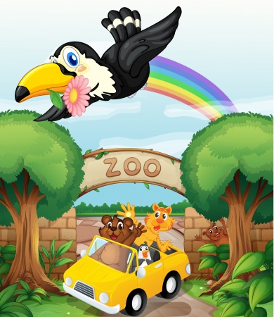 brick work: illustration of a zoo and the animals in a beautiful nature Illustration