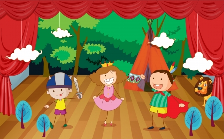 movable: illustration of kids on a stage and a beautiful background