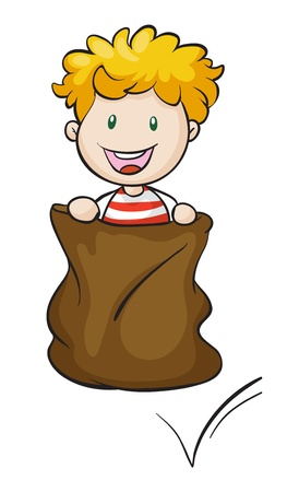 illustration of a boy and burlap on a white background Vector