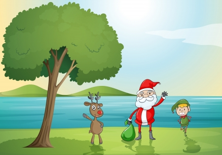 illustration of santa claus, a boy and a reindeer in a beautiful nature Vector