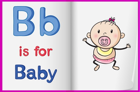 illustration of a baby on a book page Stock Vector - 15869897
