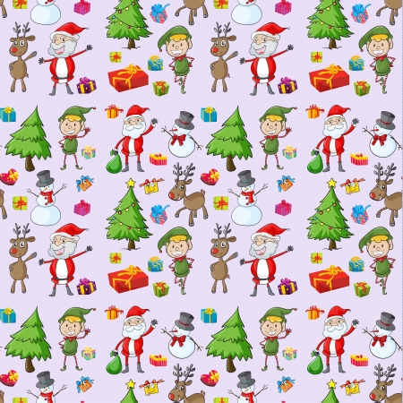 illustration of santa claus, gifts and reindeers on a white background Vector