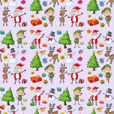 illustration du Père Noël, des cadeaux et des rennes sur un fond blanc