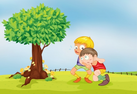 family with two children: illustration of playing boysn a beautiful nature