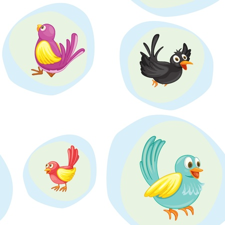 illustration of birds on a white background Vector