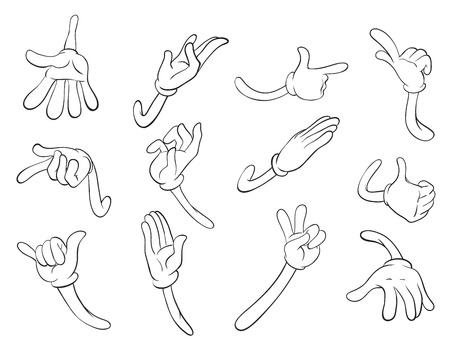 mani cartoon: illustrazione di schizzi a mano su uno sfondo bianco