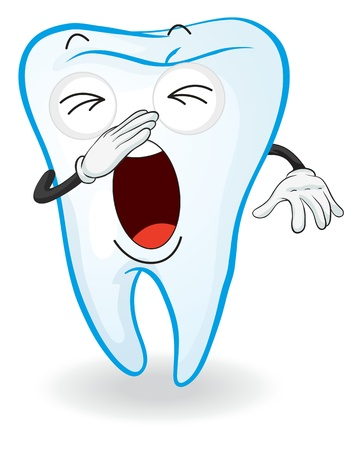 yawn: illustration of a tooth on a white background