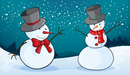 snowmen: detailed illustration of snowmen in a snow land