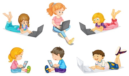 small group of object: illustration of laptops and kids on a white background