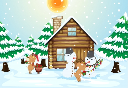 illustration of a house, snowmen and reindeers in a beautiful nature Vector