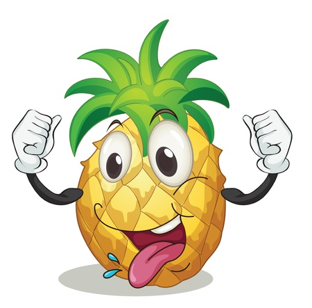cartoon pineapple: illustration of a pineapple on a white background