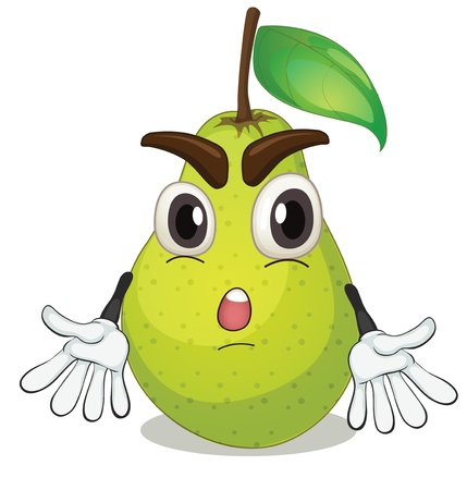 illustration: illustration of a pear on a white background