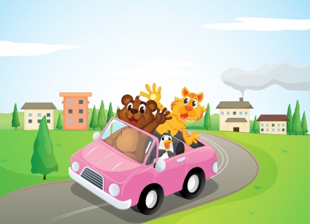 bush babies: illustration of animals in a car in nature