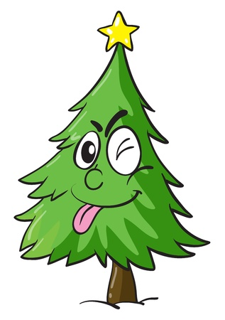 conifers: illustration of a christmas tree on white background Illustration