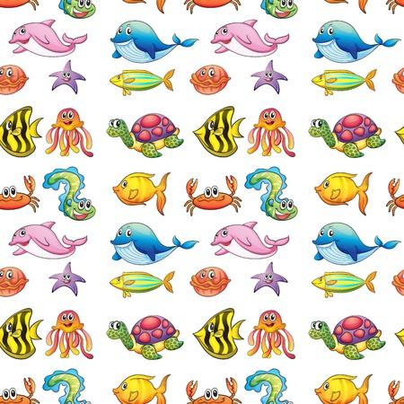Naadloze: illustratie van een verschillende zeedieren op een witte achtergrond