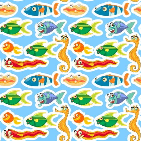 illustration of a various sea animals on a white background Vector