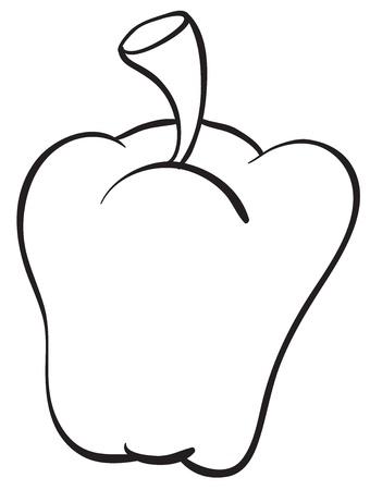 gedetailleerde illustratie van een paprika op een witte achtergrond