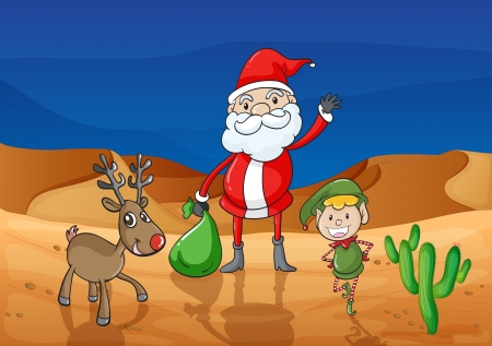 illustration of a santa claus and a reindeer in a desert Vector