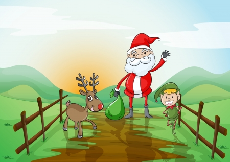 illustration of a santa claus and a reindeer in a beautiful nature Stock Vector - 15899123