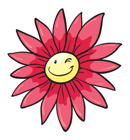 detailed illustration of a pink flower on white Vector